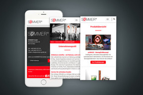 SOMMER GmbH Website - mobile Ansicht